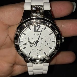 Guess Women White Crystal Watch